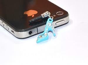 RKA Crystal Sandal Footwear Shape Anti Dust Plug For Mobile Phones Iphone Charms Bling 3.5mm Earphone Light Blue