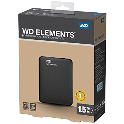 WD 1.5TB WD Elements Portable USB 3.0 Hard Drive Storage (WDBU6Y0015BBK-NESN)