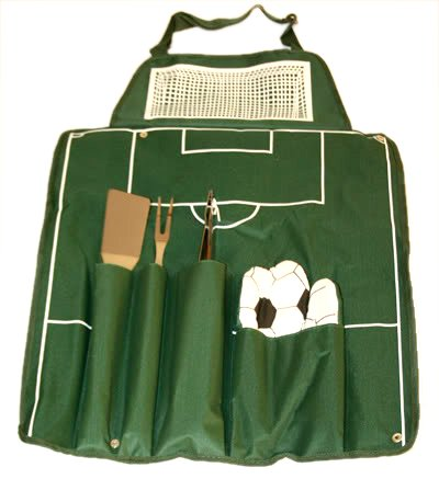 5 Piece Football Style BBQ Apron & Barbecue Utensils/Tools Set
