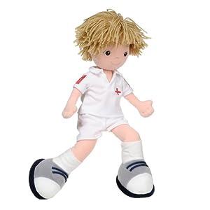 Aurora Tommy - Muñeco de trapo vestida de futbolista (35,5 cm) en BebeHogar.com