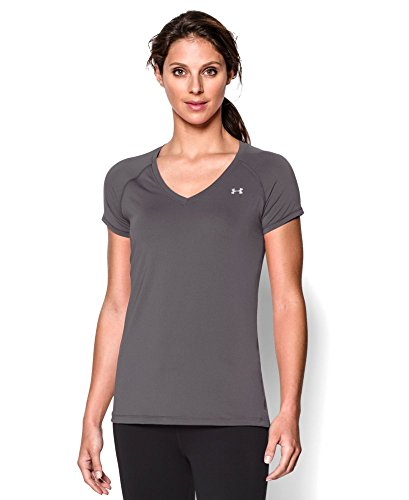 Under Armour Women's HeatGear Armour Short Sleeve, Graphite (040), Medium