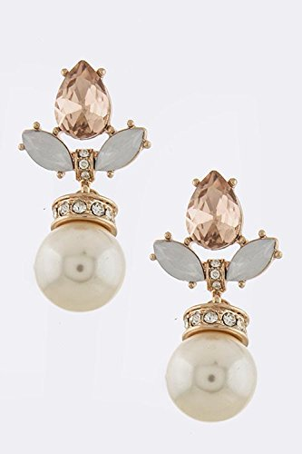Trendy Fashion Jewelry Pearl Ornate Earrings By Fashion Destination | (Rose Gold)