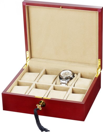 Auer Accessories Alope 038CM Watch Box For 8 Watches Cherry