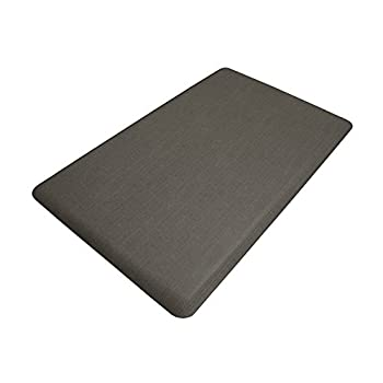 """NewLife by GelPro Anti-Fatigue Designer Comfort Kitchen Floor Mat, 18x30"""", Modern Grasscloth Charcoal Stain Resistant Surface with 5/8"""" thick ergo-foam core for health and wellness"""