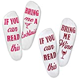 "Wine Socks-""If You Can Read This Bring Me A Glass Of Wine"" Bonus""Cocktail"" Pair, Luxury Cotton, 2 Pack - Perfect White Elephant Gift, Birthday, Stocking Stuffer Or Housewarming Funny Gift For Women"