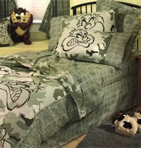 Looney Tunes TAZ Camouflage - Bedskirt / Dust Ruffles - Twin Bed