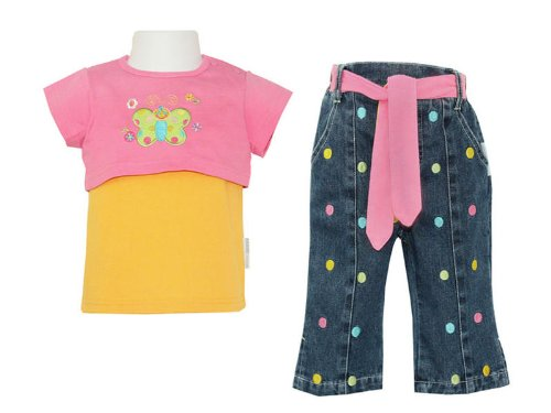 Baby Girls Layered Top & Denim Spotty Jeans Set