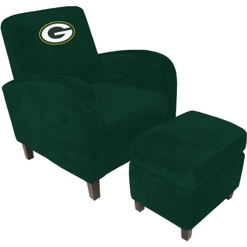 Baseline Green Bay Packers Den Chair with Ottoman