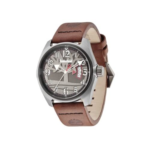 Timberland-Mens-Quartz-Watch-with-Black-Dial-Analogue-Display-and-Brown-Leather