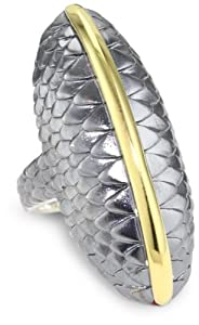 "Elizabeth and James ""Audubon"" Sterling Silver and Plated 23K Gold Feather North and South Ring, Size 7"