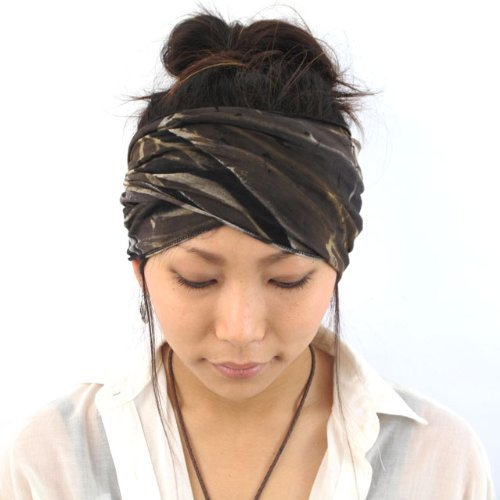 Casualbox mens Elastic headband Hand Dyed Japanese Bandana Black
