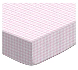 SheetWorld Fitted Portable / Mini Crib Sheet - Pink Gingham Jersey Knit - Made In USA