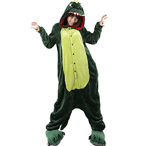 "Win8Fong New Kigurumi Pajamas Animal Anime Cosplay Costume Unisex Adult Halloween Hot Party Onesie Sleepwear (S For 150Cm-160Cm (59""-63""), Green Dinosaur) front-645574"