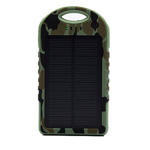 5000mAh防水/防塵/耐衝撃アウトドア向けソーラー 充電器 ソーラーバッテリー 大容量 iPhone・iPad・スマートフォン(スマホ)対応 LEDライト付 モバイルバッテリー /リチウムイオンポリマーバッテリー(LIT-SHOP) (アーミーグリーン)