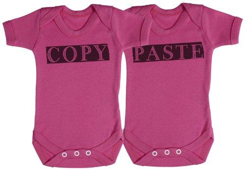 Trs - Copy & Paste Twin Set Baby Bodysuit / Babygrow 3-6M Pink front-26857
