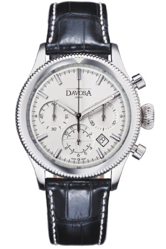 Davosa Men's Automatic Watch with White Dial Chronograph Display and White Leather Strap 16100615