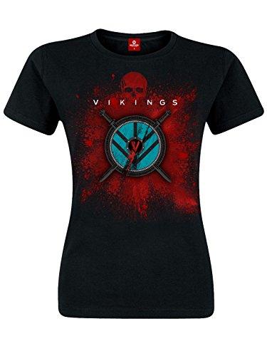 Vikings Shield T-Shirt da ragazza cotone nero, Donna, nero, XL