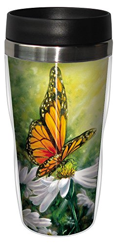 Tree-Free Greetings 25503 Lynne Pittard Butterfly Rays of Light Sip 'N Go Stainless Lined Travel Mug, 16-Ounce