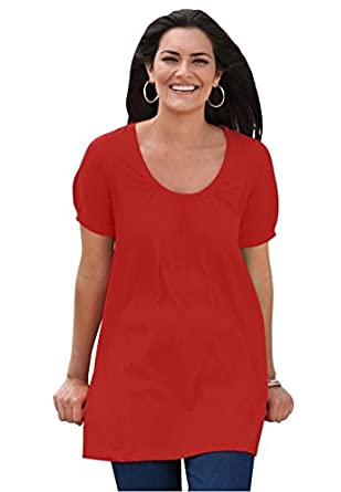 Women's Plus Size Top, in soft knit, the Perfect cotton U-neck tunic (BALI