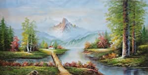 Small Bridge to Cottage, Mountain and Water Landscape Large Oil Painting 36x72 Inch (Unstretched/Unframed), BeyondDream Art