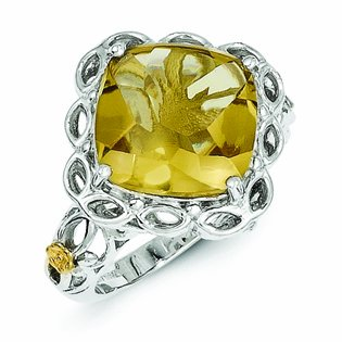 Sterling Silver with 14k Gold Whiskey Quartz Ring - (Size 8)