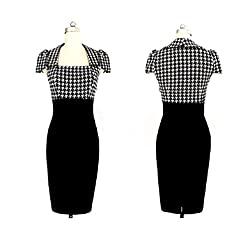Rockabilly Dog Tooth Check Work Office Pin Up 50's Midi Pencil Bodycon Wiggle Dress