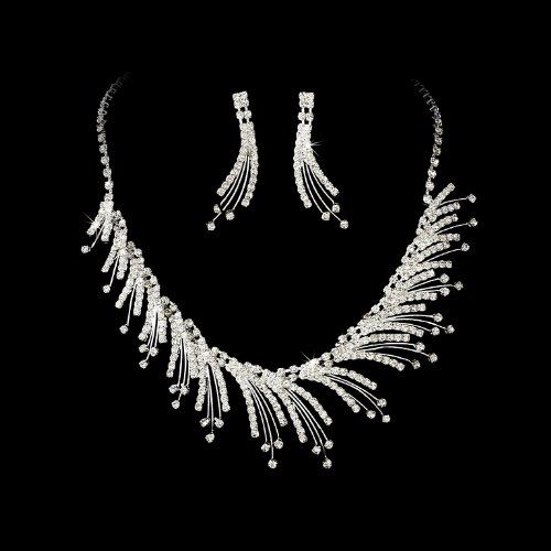 Silver Clear Bridal Wedding Necklace Earring Set