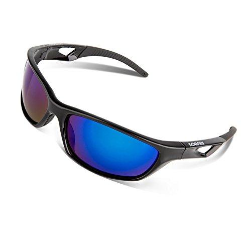 RIVBOS Polarized Sports Sunglasses Driving Glasses for Men Women Tr90 Unbreakable Frame for Cycling Baseball Running Rb831 (Black&Black Mirror Lens)