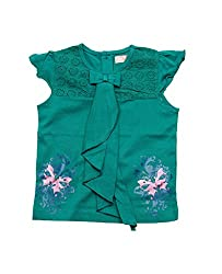 Juscubs Printed butterfly with collar frill fall top combined with shifley fabric