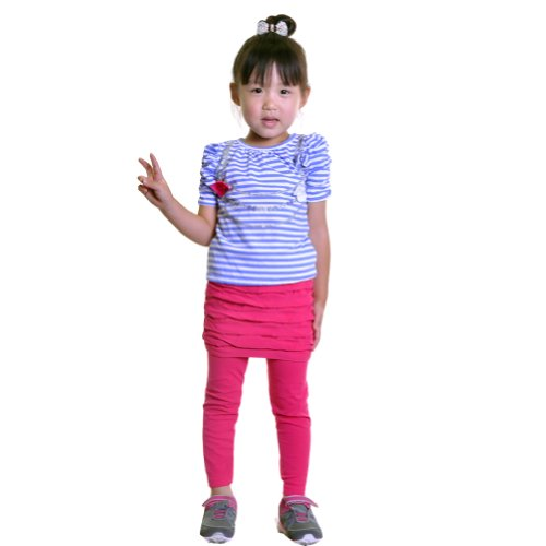 Maria Rosa Girls Seamless Legging With Skirt #937 Pink front-12833