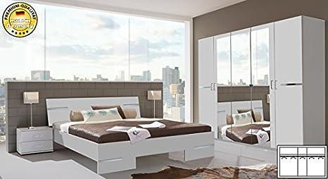 Schlafzimmer 355658 komplett 4-teilig mit Kleiderschrank 225cm weiß