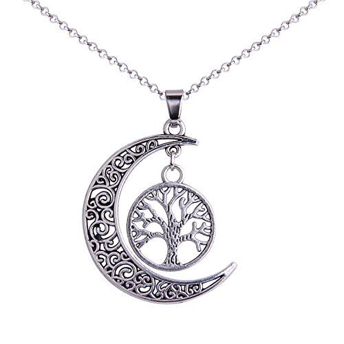 iWenSheng Fashion Silver-tone Crescent New Moon Pendant Necklace with Hollow Out Tree Charm Gift Jewelry
