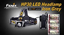 Fenix HP30 900 Lumen LED Headlamp (Grey or Yellow) Flashlight with LegionArms CR123A Lithium Batteries Pack (Iron Grey)