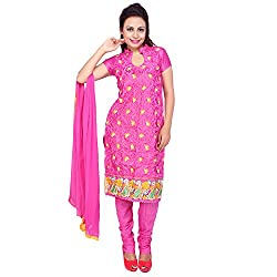 Raahi Pink Cotton Embroidered Unstitched Dress Material