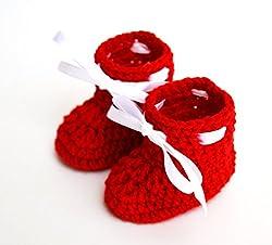 Love Crochet Art Crochet baby booties (6 to 12 Months) Red