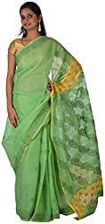 knool Women's Georgette Saree With Unstitched Blouse Piece (Pista and Yellow) (CCSH04)