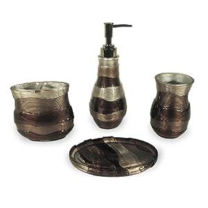 Veratex horizons 4 piece bath set brown for Brown bath accessories