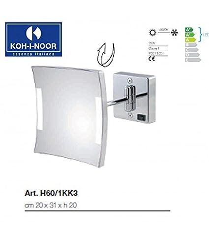 Koh-I-Noor H60/1KK3 Specchio Ingranditore X3 Quadrolo LED, Cromo