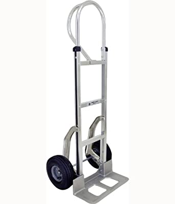 "RWM Casters Aluminum Fixed Hand Truck with Vertical Loop Handle, 8"" Nylon Core/Rubber Wheels, 500 lbs Load Capacity, 53"" Height"