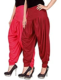 Navyataa Women's Lycra Dhoti Pants For Women Patiyala Dhoti Lycra Salwar Free Size (Pack Of 2) Pink & Red