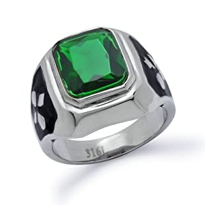 s stainless steel simulated emerald ring