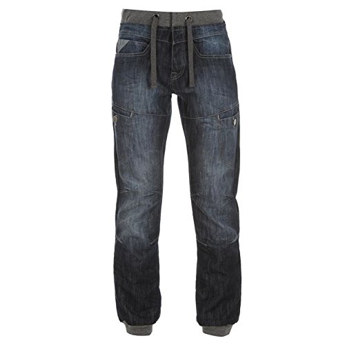 airwalk-mens-cuffed-jeans-denim-pants-trousers-drawstring-casual-comfort-dark-wash-34w-r
