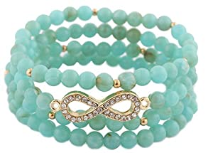 Ladies Turquoise with Gold 4 Piece Bundle of Iced Out Infinity Beaded Stretch Bracelet
