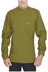 Padam Men's Cotton Kurta_PMKR0004_Green_XXL