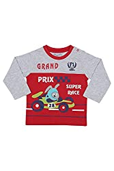 Chirpie Pie by Pantaloons Boy's Round Neck T-Shirt (205000005610015, Red, 6 - 9 Months)