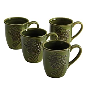 Paula Deen Signature Dinnerware Southern Pine Collection 4-Piece Mug Set, Green