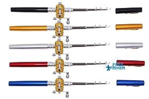 Mini Portable Fishing Pen Telescoping Rod + Golden Game Fishing Reel from FreeFisher