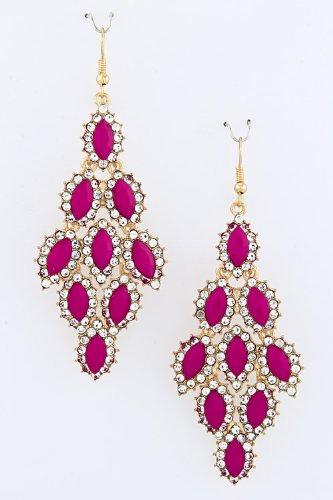 Karmas Canvas Droplet Link Earrings (Fuchsia)