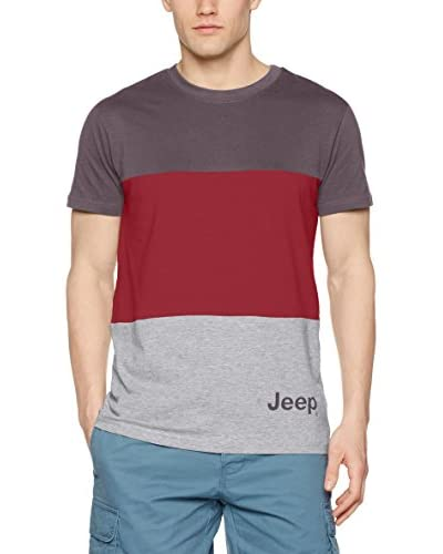Jeep T-Shirt O100667 blau/orange/grau meliert
