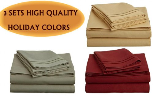 """3 Bed Sheet Sets - Queen Size, Sage Green,Camel Gold, Burgundy Red - Best Deal!!! Package Of """"3"""" 4 Pc Sets front-1013858"""